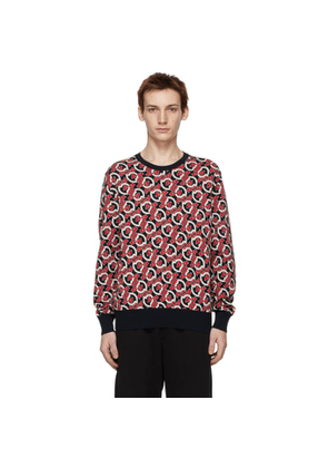 Moncler Black and Red Knit Logo Sweater