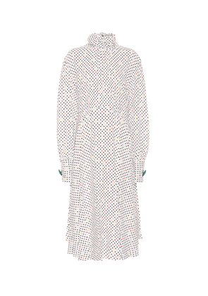 Polka-dot crêpe midi dress