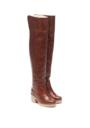 Sporty Elegance over-the-knee leather boots