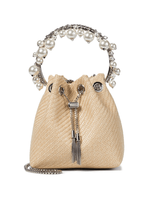 Bon Bon embellished raffia bucket bag