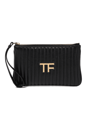 TF quilted leather clutch