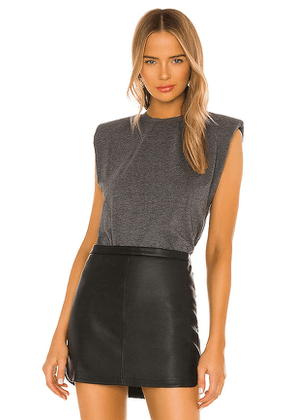 Alice + Olivia Braxton Sleeveless Tee in Charcoal. Size S, XS.