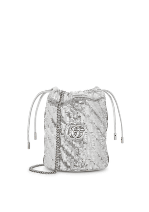 Gucci GG Marmont Silver Sequin Bucket Bag