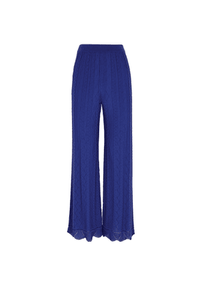 M Missoni Cobalt Blue Zigzag Fine-knit Trousers