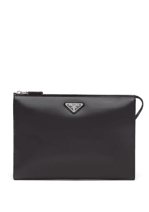 Prada logo-plaque leather pouch bag - Black