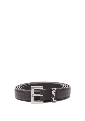 Saint Laurent - Ysl-plaque Grained-leather Belt - Mens - Black
