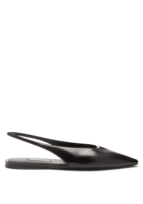Prada - Point-toe Spazzolato-leather Slingback Flats - Womens - Black