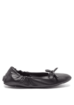 Prada - Bow Leather Ballet Flats - Womens - Black