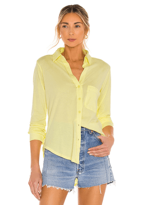 Bobi Light Weight Jersey Button Down in Yellow. Size M, S, XS.