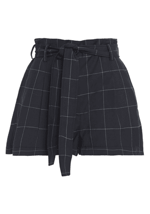 3.1 Phillip Lim Belted Checked Twill Shorts Woman Midnight blue Size 0