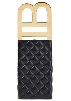 Balmain B Minaudiere Quilted Leather Box Clutch Woman Black Size --