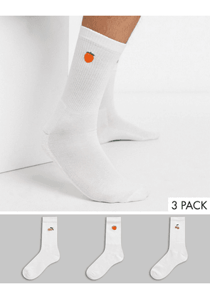 New Look fruity sock 3 pack in white