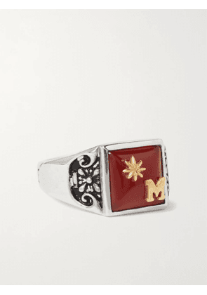 MAPLE - Collegiate Engraved Sterling Silver and Gold-Plated Garnet Signet Ring - Men - Silver - L
