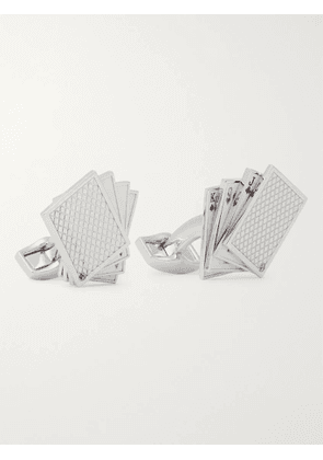 TATEOSSIAN - Playing Cards Rhodium-Plated and Enamel Cufflinks - Men - Silver