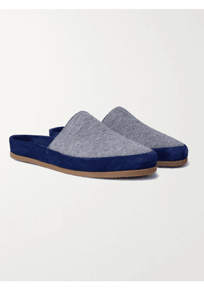 MULO - Hamilton and Hare Suede-Trimmed Striped Cotton Slippers - Men - Blue - UK 7