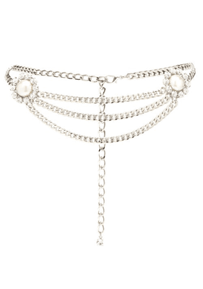 Alessandra Rich - Faux-pearl And Crystal Curb-chain Belt - Womens - Silver