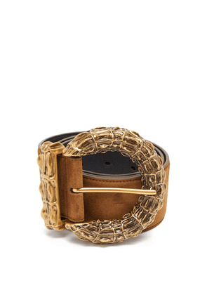 Saint Laurent - Hammered-buckle Suede Belt - Womens - Brown