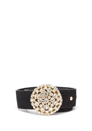Alessandra Rich - Crystal-buckle Suede Belt - Womens - Black