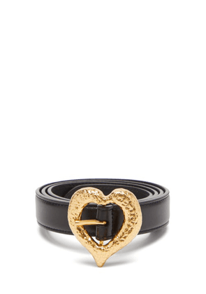 Saint Laurent - Hammered-heart Leather Belt - Womens - Black