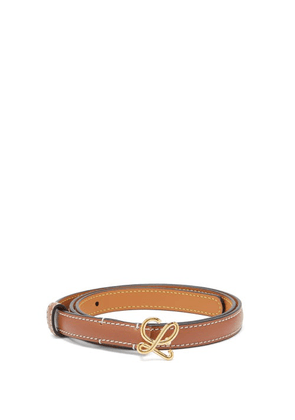 Loewe - Monogram-buckle Leather Belt - Womens - Tan