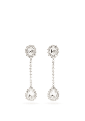 Alessandra Rich - Crystal-embellished Drop Clip Earrings - Womens - Crystal