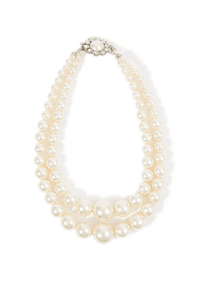 Alessandra Rich - Crystal-embellished Faux-pearl Necklace - Womens - Pearl