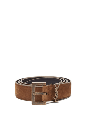 Saint Laurent - Ysl-plaque Suede Belt - Mens - Brown