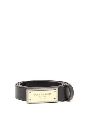 Dolce & Gabbana - Logo-plaque Leather Belt - Mens - Black