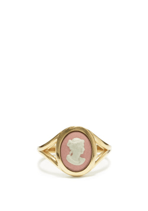 Ferian - Profile Wedgwood Cameo & 9kt Gold Signet Ring - Womens - Pink White