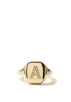 Shay - Initial Diamond & 18kt Gold Pinky Ring (a-i) - Womens - Yellow Gold