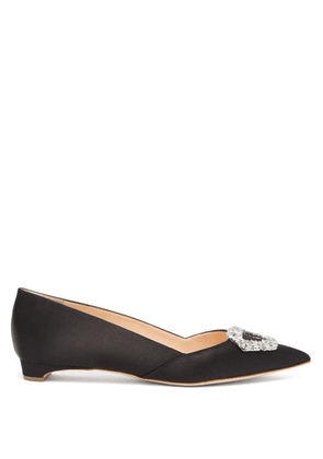 Rupert Sanderson - Crystal-buckle Point-toe Satin Flats - Womens - Black