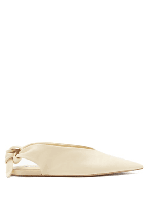 Jil Sander - Point-toe Slingback Leather Flats - Womens - Cream