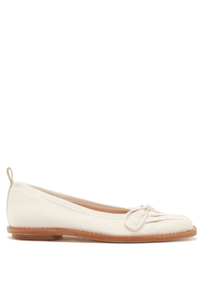 Simone Rocha - Crystal-embellished Canvas Ballerina Flats - Womens - Cream