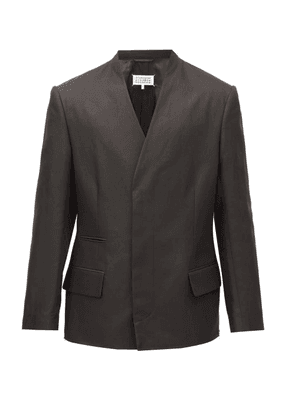 Maison Margiela - Collarless Double-breasted Cotton-blend Blazer - Mens - Black