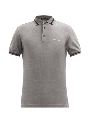 Dolce & Gabbana - Logo-embroidered Cotton-piqué Polo Shirt - Mens - Dark Grey