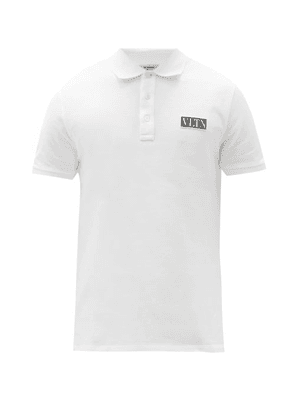 Valentino - Vltn Logo-patch Cotton-piqué Polo Shirt - Mens - White