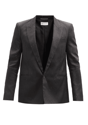 Saint Laurent - Single-breasted Speckled-dupion Suit Jacket - Mens - Black