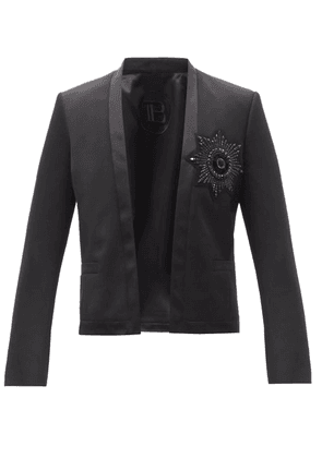 Balmain - Crystal-badge Single-breasted Wool Blazer - Mens - Black