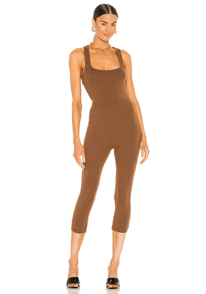 h:ours Tara Jumpsuit in Brown. Size M, S, XL, XS.