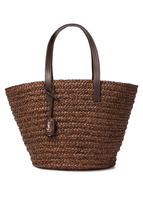 Panier leather-trimmed raffia tote