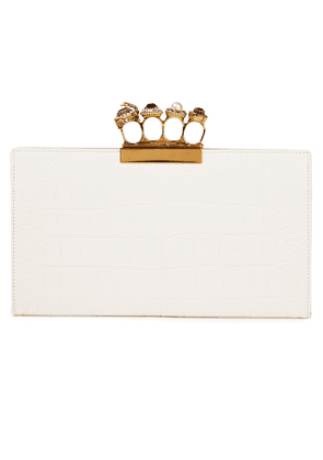 Alexander Mcqueen Four Ring Embellished Croc-effect Leather Clutch Woman Ivory Size --