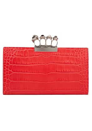 Alexander Mcqueen Knuckle Croc-effect Leather Envelope Clutch Woman Red Size --