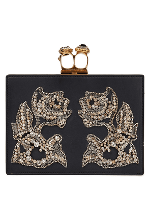 Alexander Mcqueen Embellished Leather Clutch Woman Black Size --
