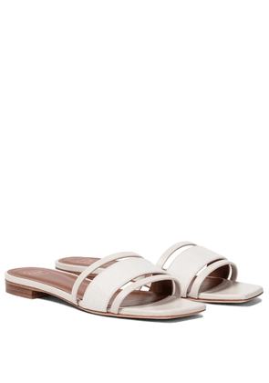 Demi linen and leather slides