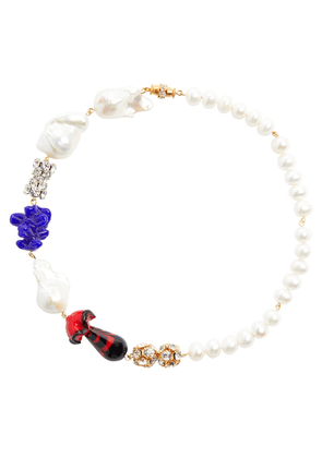 24kt gold-plated necklace with pearls