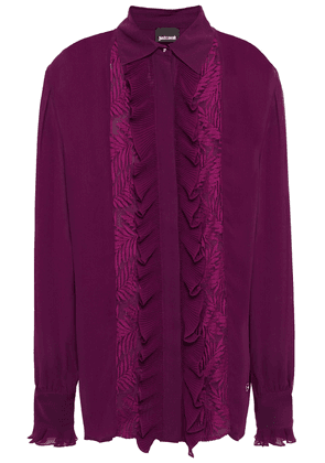 Just Cavalli Lace-trimmed Ruffled Georgette Shirt Woman Grape Size 40