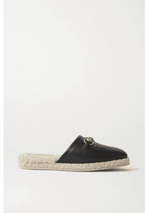 Gucci - Fria Horsebit-detailed Shearling-lined Leather Slippers - Black