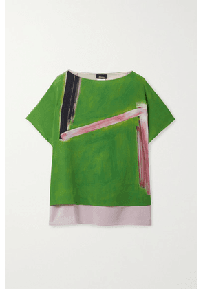 Akris - Layered Printed Mulberry Silk-crepe And Georgette Top - Green