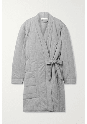 Skin - Stormie Quilted Mélange Cotton-jersey Robe - Gray