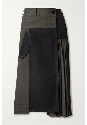Sacai - Paneled Pleated Grosgrain-trimmed Cotton-blend Twill And Wool Midi Skirt - Gray green